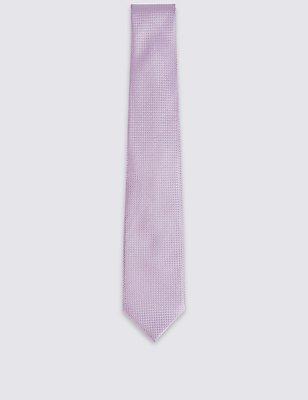 Pure Silk Textured Tie & Pocket Square Set, LIGHT PINK, catlanding