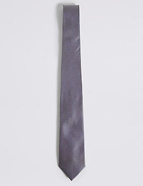 Pure Silk Textured Tie & Pocket Square Set, NAVY MIX, catlanding