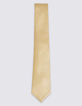 Pure Silk Textured Tie & Pocket Square Set, YELLOW MIX, catlanding