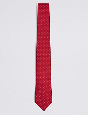 Pure Silk Spotted Tie, RED MIX, catlanding
