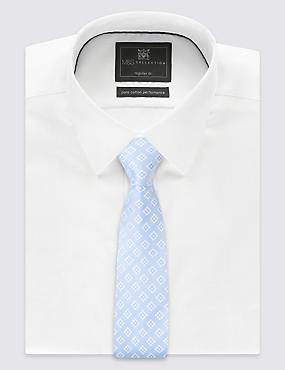 Cravate 100% soie à imprimé géométrique, BLEU CLAIR, catlanding