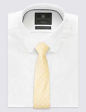 Cravate 100% soie à imprimé géométrique, JAUNE ASSORTI, catlanding