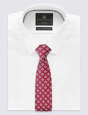 Cravate 100% soie à imprimé géométrique, BOURGOGNE ASSORTI, catlanding