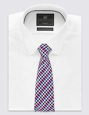 Cravate 100% soie à carreaux Vichy, MAGENTA, catlanding