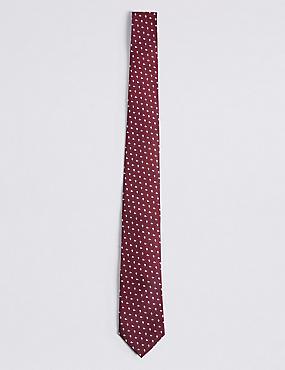 Cravate 100% soie à imprimé géométrique, ROUGE, catlanding