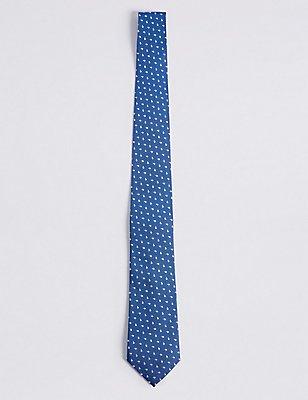 Pure Silk Geo Print Tie, BLUE, catlanding