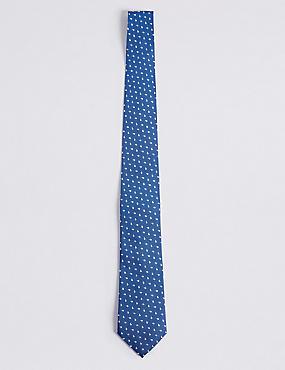 Cravate 100% soie à imprimé géométrique, BLEU, catlanding