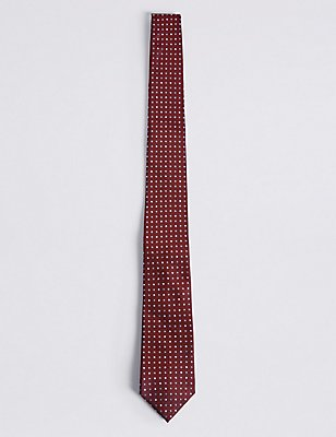 Pure Silk Spotted Tie, RED, catlanding
