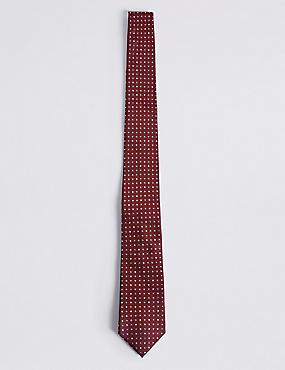 Cravate 100% soie à pois, ROUGE, catlanding