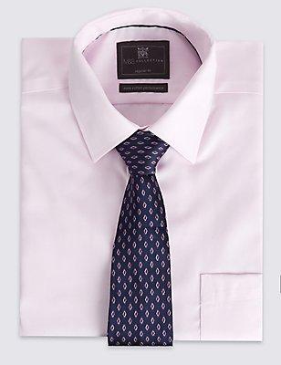 Pure Silk Geometric Print Tie, PINK MIX, catlanding