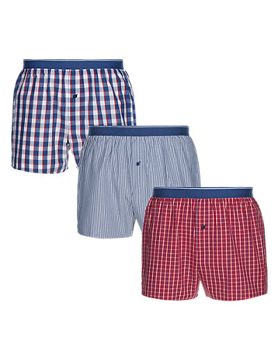 3 Pack Pure Cotton Striped & Checked Woven Boxers Clothing