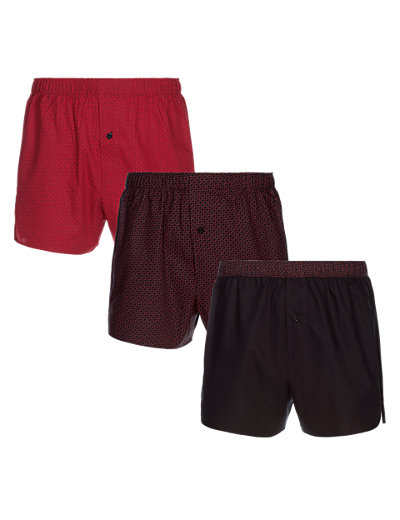 3 Pack Pure Cotton Heart Woven Boxers Clothing