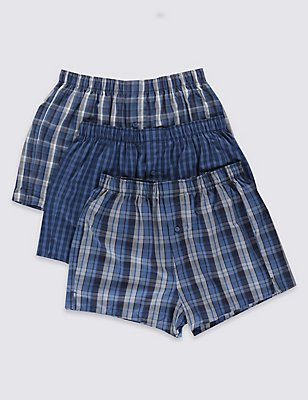 3 Pack Pure Cotton Easy to Iron Checked Boxers, BLUE MIX, catlanding