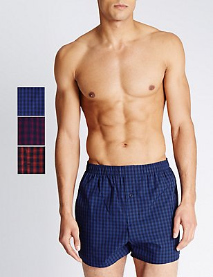 Pure Cotton Easy to Iron Checked Boxers, RED MIX, catlanding