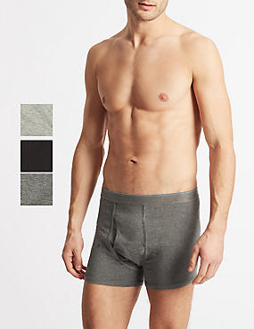 3 Pack Cool & Fresh™ Stretch Cotton Trunks, GREY MIX, catlanding