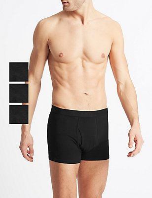 3 Pack Cool & Fresh™ Stretch Cotton Trunks, BLACK, catlanding