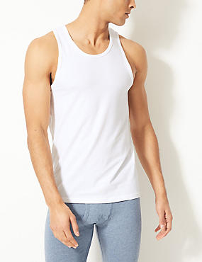 2 Pack Cotton Rich Cool & Fresh™ Stretch Vests, WHITE, catlanding
