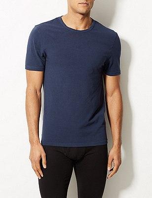 2 Pack Cool & Fresh™ Stretch Cotton Vests, BLUE, catlanding