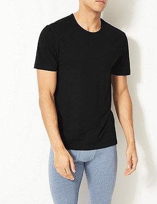 2 Pack Cool & Fresh™ Stretch Cotton Vests, BLACK, catlanding