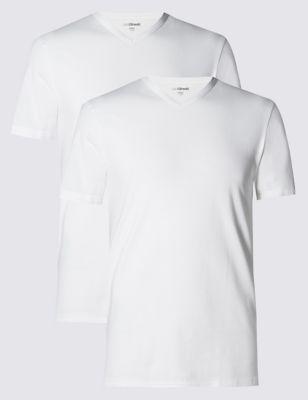 Хлопковая футболка стретч с технологиями Cool & Fresh™ и StayNEW™ (2 шт) M&S Collection T144536S
