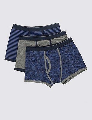 3 Pack 4-Way Stretch Cotton Cool & Fresh™ Assorted Trunks with StayNEW™, BLUE MIX, catlanding