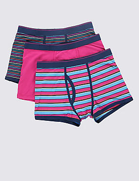 3 Pack Cool & Fresh™ Stretch Cotton Assorted Trunks with StayNEW™, MULTI/BRIGHTS, catlanding