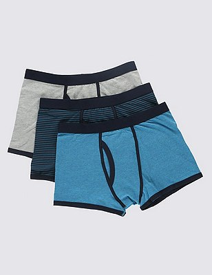 3 Pack Cool & Fresh™ Stretch Cotton Assorted Trunks with StayNEW™, TEAL MIX, catlanding