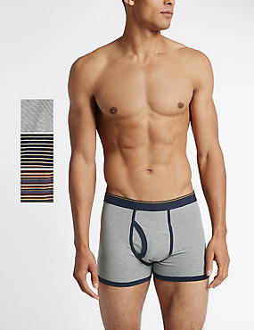 3 Pack Cotton Rich Cool & Fresh™ Multi Stripe Trunks with Buttonsafe™, NAVY MIX, catlanding