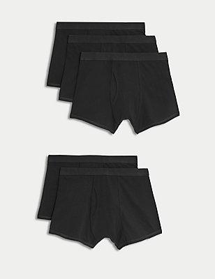 5er-Pack Unterhosen mit hohem Baumwollanteil , SCHWARZ, catlanding