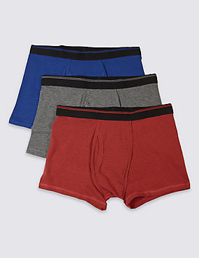 3 Pack Cotton Rich Stretch Trunks, BLUE MIX, catlanding