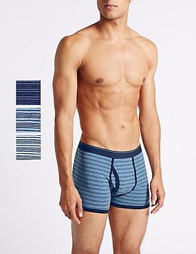 3 Pack Cotton Rich Striped Trunks, MEDIUM BLUE MIX, catlanding