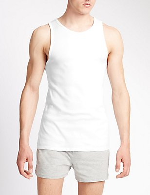 3 Pack Pure Cotton Sleeveless Vests, WHITE, catlanding