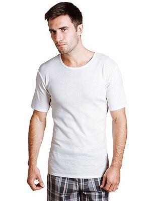 3 Pack Pure Cotton Crew Neck Vests, WHITE, catlanding