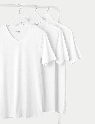 3 Pack Pure Cotton V-Neck Vest , WHITE, catlanding