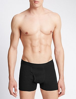 3 Pack Pure Cotton Cool & Fresh™ Trunks, BLACK, catlanding