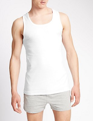 2 Pack Pure Cotton Sleeveless Vests with StayNEW™, WHITE, catlanding
