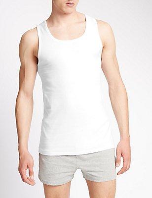 Set van 2 mouwloze hemden van puur katoen met StayNEW™, WIT, catlanding