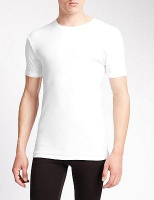 2 Pack Pure Cotton Crew Neck Vests, WHITE, catlanding