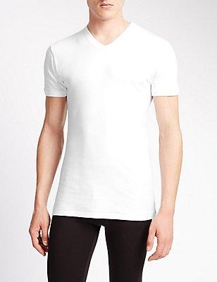 Set van 2 hemden met V-hals van puur katoen met StayNEW™, WIT, catlanding