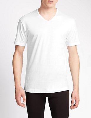 2 Pack Pure Cotton Mercerised Short Sleeve Vests, WHITE, catlanding