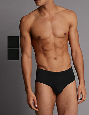 2 Pack Modal Blend Briefs, BLACK, catlanding