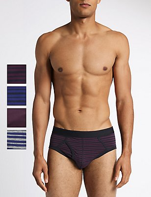 4 Pack Stretch Cool & Fresh™ Briefs with StayNEW™, PURPLE MIX, catlanding