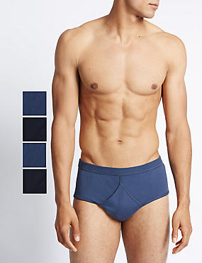 4 Pack Pure Cotton Briefs with StayNEW™, NAVY/BLUE, catlanding