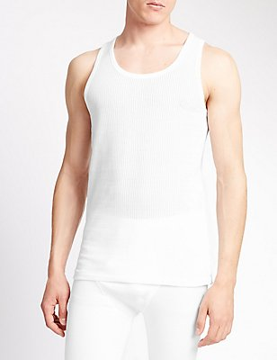 2 Pack Pure Cotton Cellular Vests with StayNEW™, WHITE, catlanding