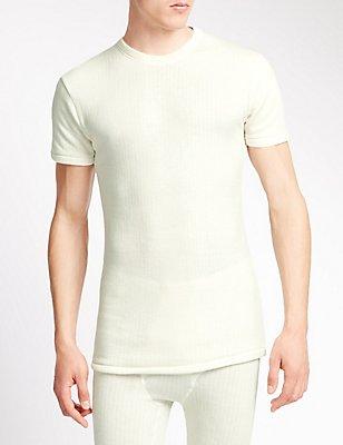 Short Sleeve Ribbed Thermal Vest with Merino Wool, CREAM, catlanding