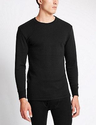 Long Sleeve Thermal Vest with Merino Wool, BLACK, catlanding