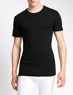 Short Sleeve Thermal Vest with Merino Wool, BLACK, catlanding