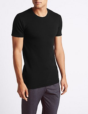 Wool Blend Short Sleeve Thermal Vest, BLACK, catlanding