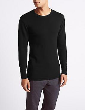 Wool Blend Long Sleeve Thermal Vest, BLACK, catlanding