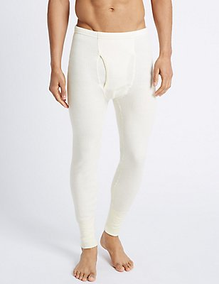 Wool Blend Thermal Long Pants, CREAM, catlanding
